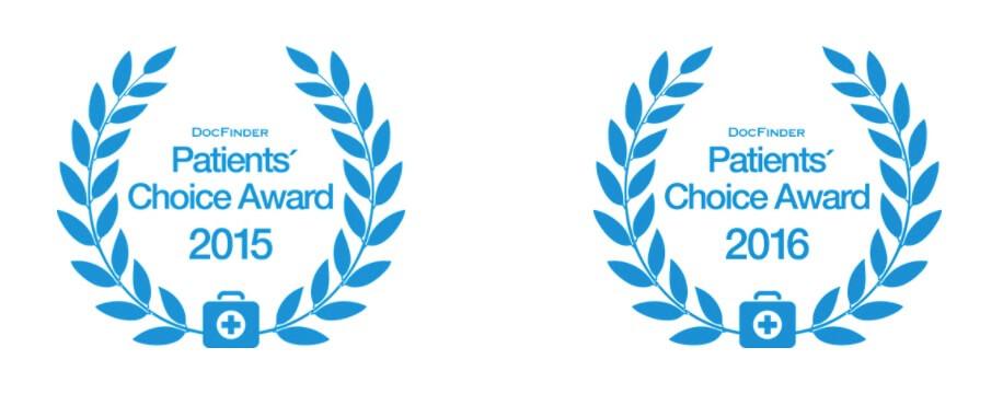 Auszeichnung Patients' Choice Award 2015 und 2016